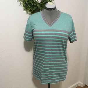 Carbon Green and Gray Stripe Short Sleeve Top